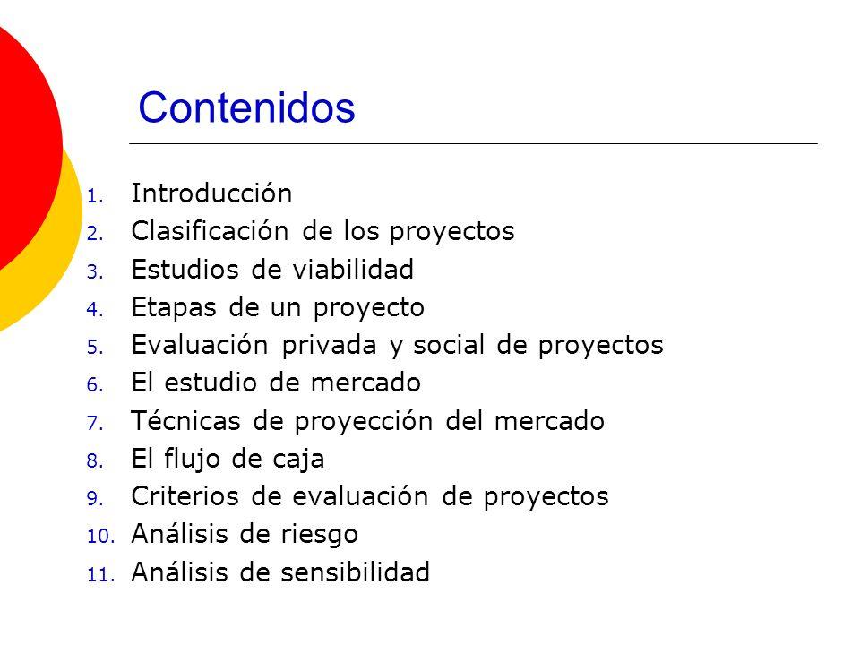 Contenidos 1. Introducción 2. Clasificación de los proyectos 3. Estudios de viabilidad 4. Etapas de un proyecto 5. Evaluación privada y social de proy