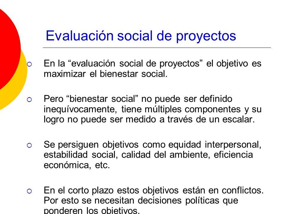 Evaluación social de proyectos En la evaluación social de proyectos el objetivo es maximizar el bienestar social. Pero bienestar social no puede ser d