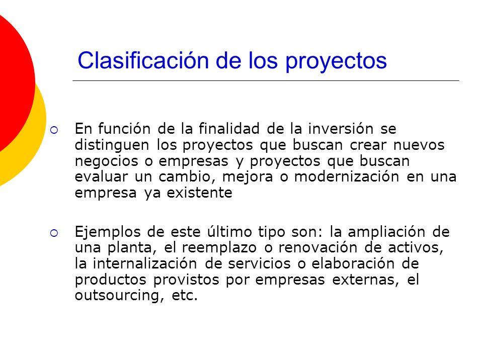 Clasificación de los proyectos En función de la finalidad de la inversión se distinguen los proyectos que buscan crear nuevos negocios o empresas y pr