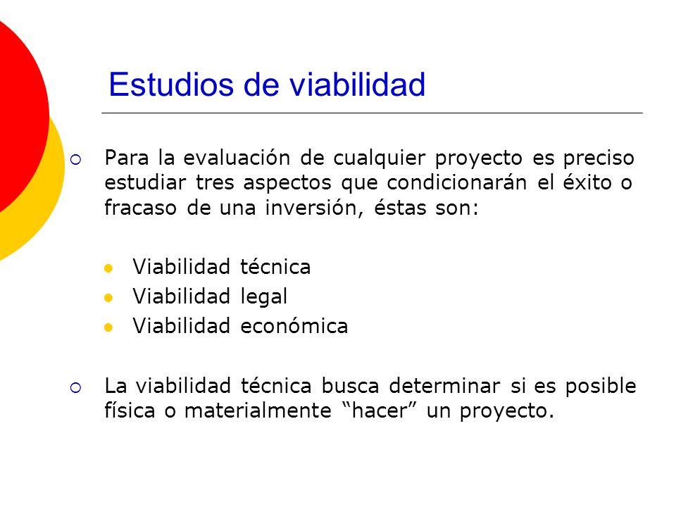 Estudios de viabilidad La viabilidad legal se refiere a la necesidad de determinar la inexistencias de trabas legales para la instalación y operación normal del proyecto.