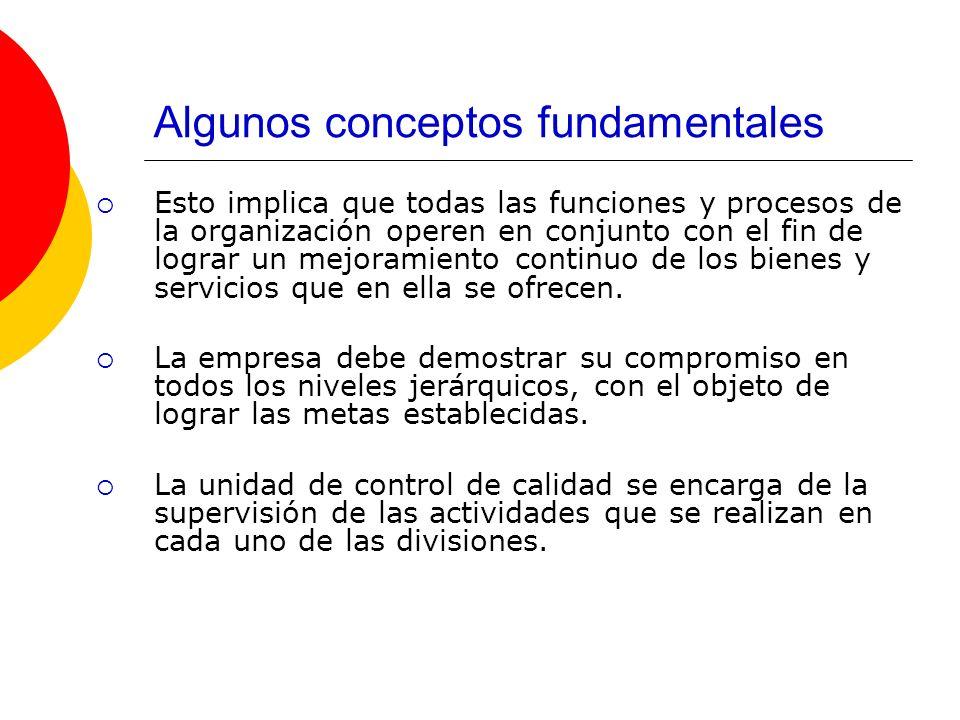 Algunos conceptos fundamentales Esto implica que todas las funciones y procesos de la organización operen en conjunto con el fin de lograr un mejorami