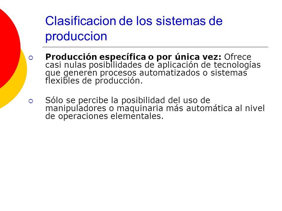 Clasificacion de los sistemas de produccion Producción específica o por única vez: Ofrece casi nulas posibilidades de aplicación de tecnologías que ge