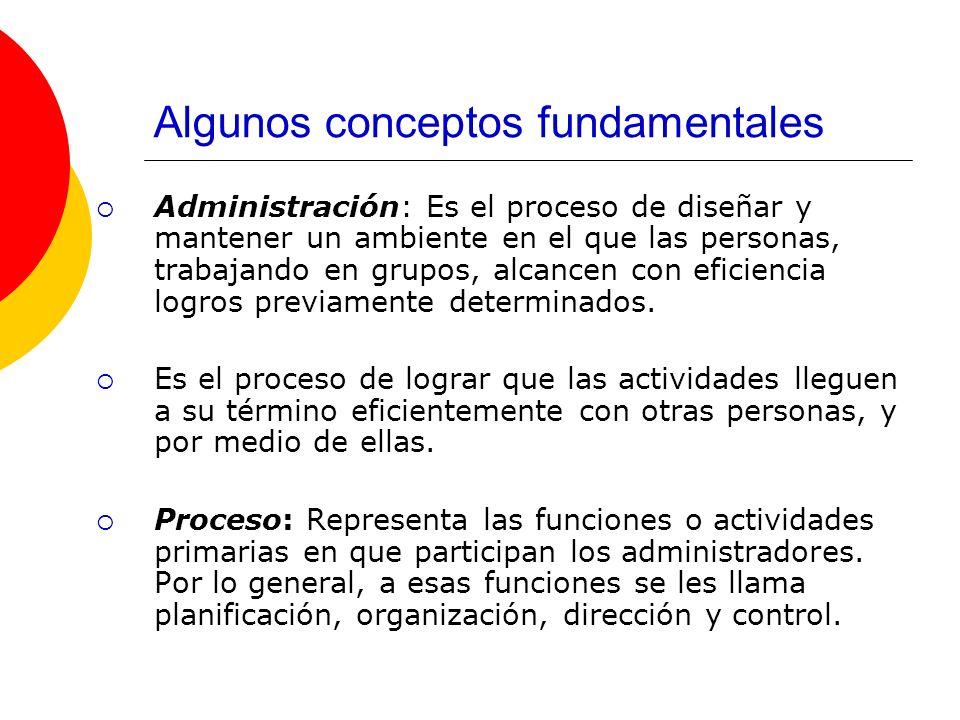 Algunos conceptos fundamentales Administración: Es el proceso de diseñar y mantener un ambiente en el que las personas, trabajando en grupos, alcancen