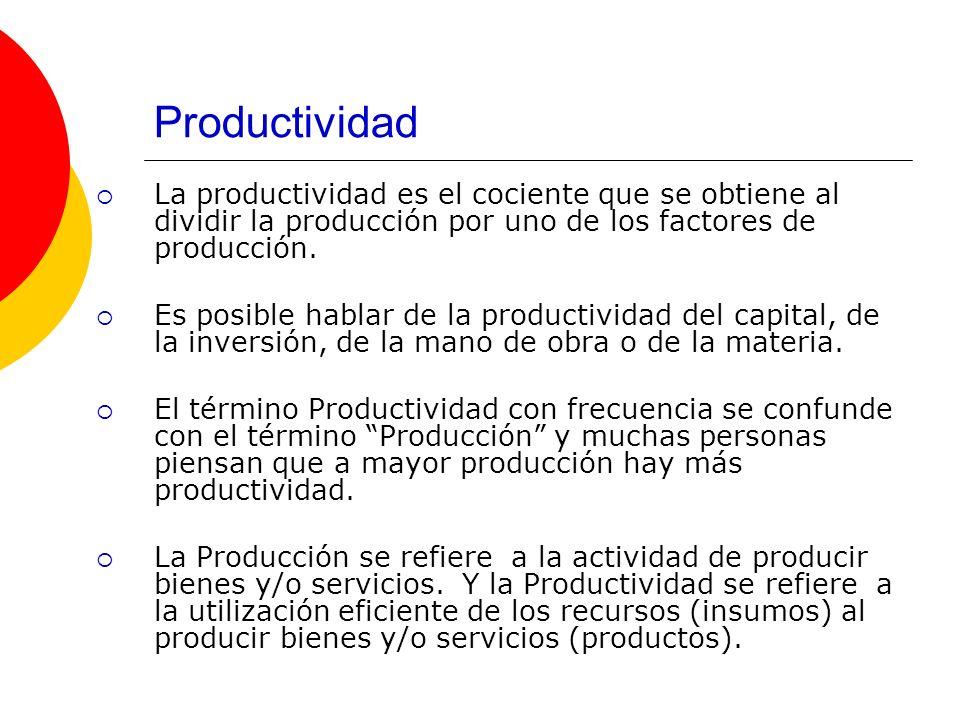 Productividad La productividad es el cociente que se obtiene al dividir la producción por uno de los factores de producción. Es posible hablar de la p