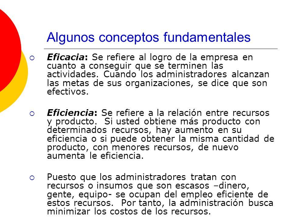 Algunos conceptos fundamentales Eficacia: Se refiere al logro de la empresa en cuanto a conseguir que se terminen las actividades. Cuando los administ