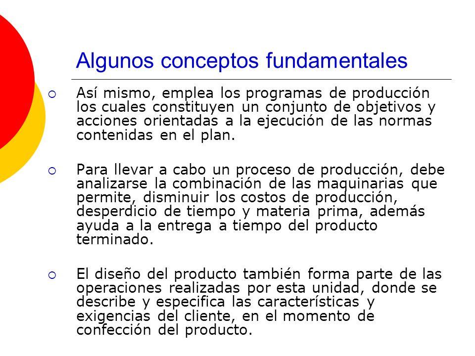 Algunos conceptos fundamentales Así mismo, emplea los programas de producción los cuales constituyen un conjunto de objetivos y acciones orientadas a