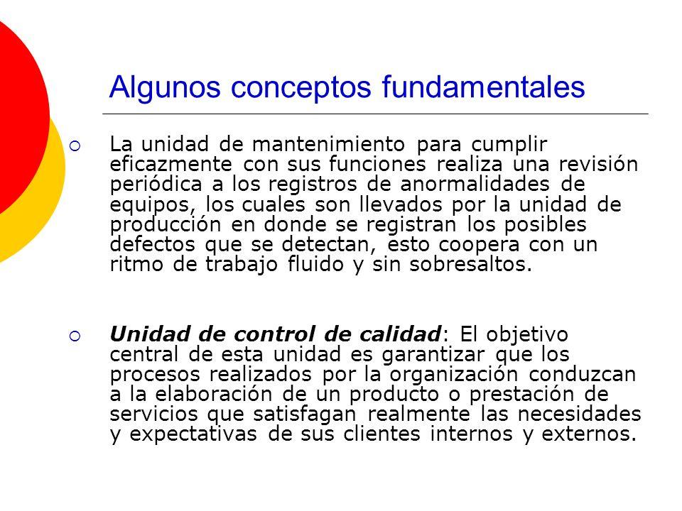 Algunos conceptos fundamentales La unidad de mantenimiento para cumplir eficazmente con sus funciones realiza una revisión periódica a los registros d
