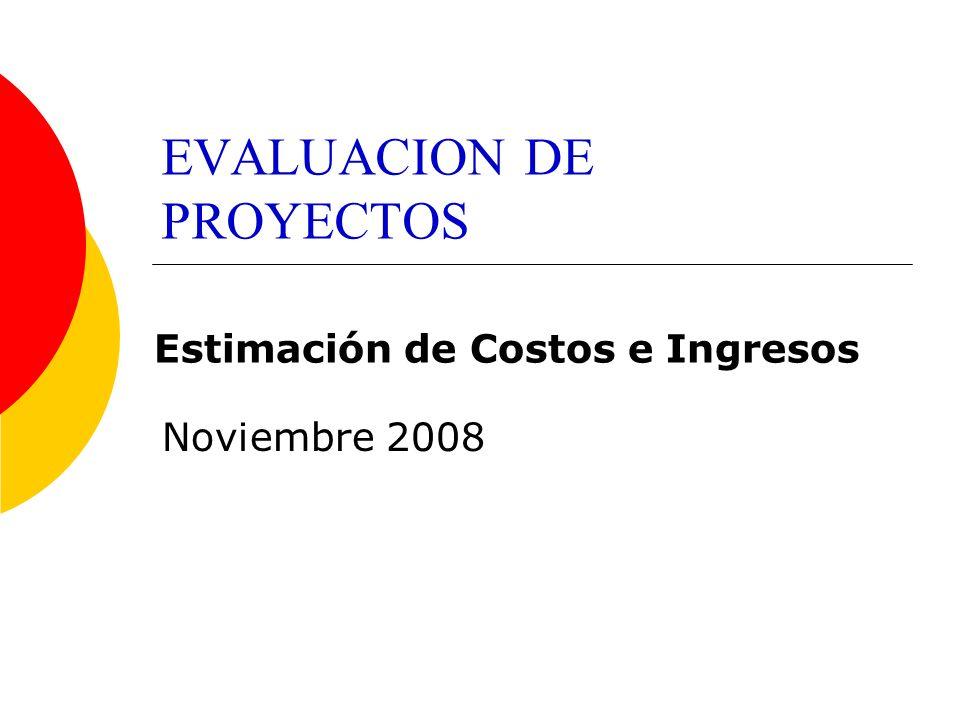 EVALUACION DE PROYECTOS Noviembre 2008 Estimación de Costos e Ingresos