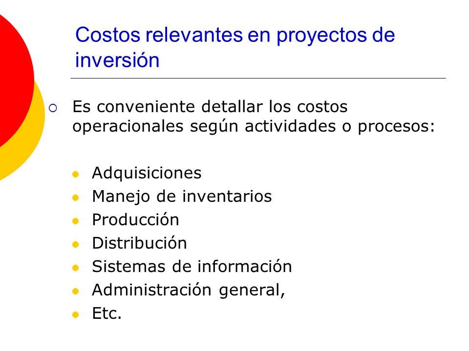 Costos relevantes en proyectos de inversión Es conveniente detallar los costos operacionales según actividades o procesos: Adquisiciones Manejo de inv