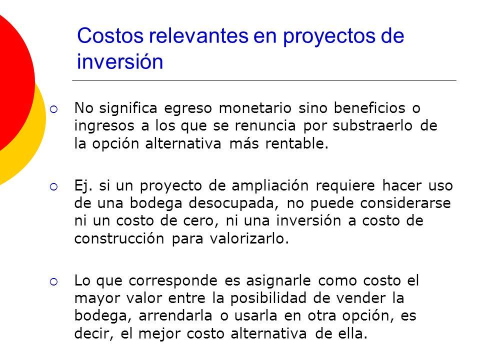 Costos relevantes en proyectos de inversión No significa egreso monetario sino beneficios o ingresos a los que se renuncia por substraerlo de la opció