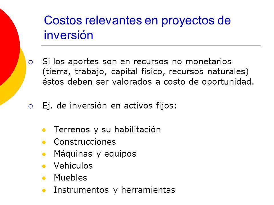Costos relevantes en proyectos de inversión Si los aportes son en recursos no monetarios (tierra, trabajo, capital físico, recursos naturales) éstos d