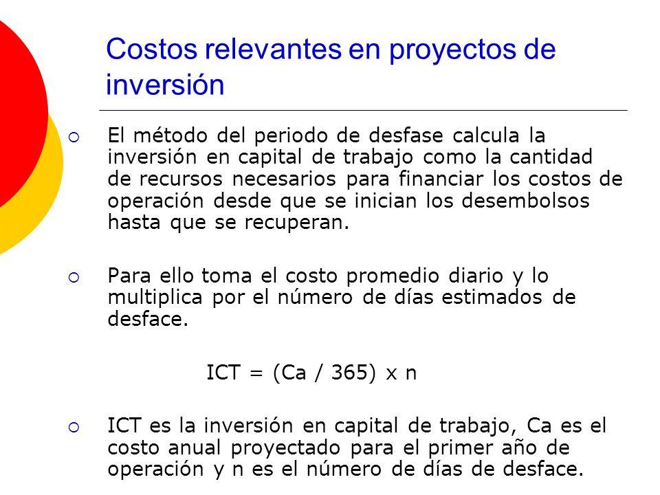 Costos relevantes en proyectos de inversión El método del periodo de desfase calcula la inversión en capital de trabajo como la cantidad de recursos n