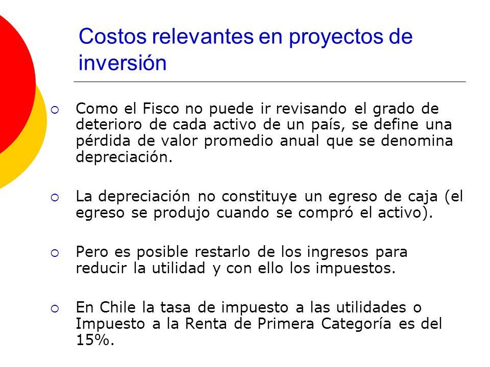 Costos relevantes en proyectos de inversión Como el Fisco no puede ir revisando el grado de deterioro de cada activo de un país, se define una pérdida