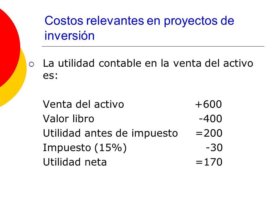 Costos relevantes en proyectos de inversión La utilidad contable en la venta del activo es: Venta del activo +600 Valor libro -400 Utilidad antes de i
