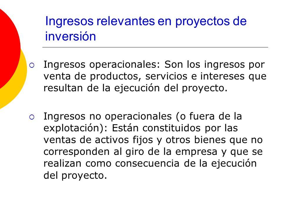 Ingresos relevantes en proyectos de inversión Ingresos operacionales: Son los ingresos por venta de productos, servicios e intereses que resultan de l