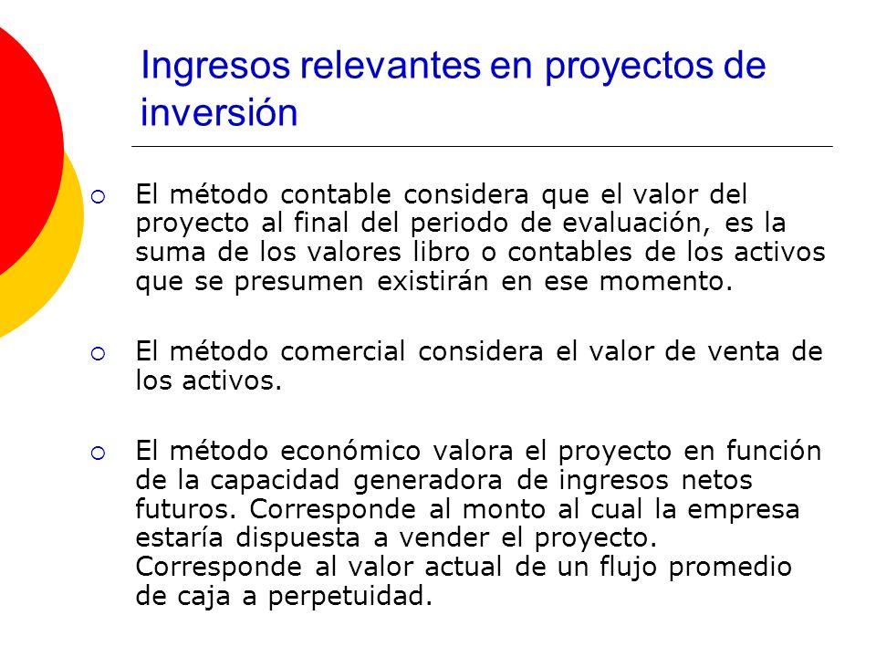 Ingresos relevantes en proyectos de inversión El método contable considera que el valor del proyecto al final del periodo de evaluación, es la suma de