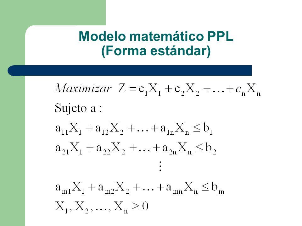 Modelo matemático PPL (Forma estándar)