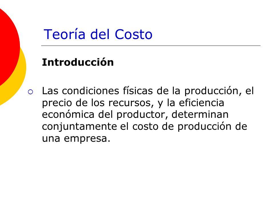 Teoría del Costo Introducción Las condiciones físicas de la producción, el precio de los recursos, y la eficiencia económica del productor, determinan conjuntamente el costo de producción de una empresa.