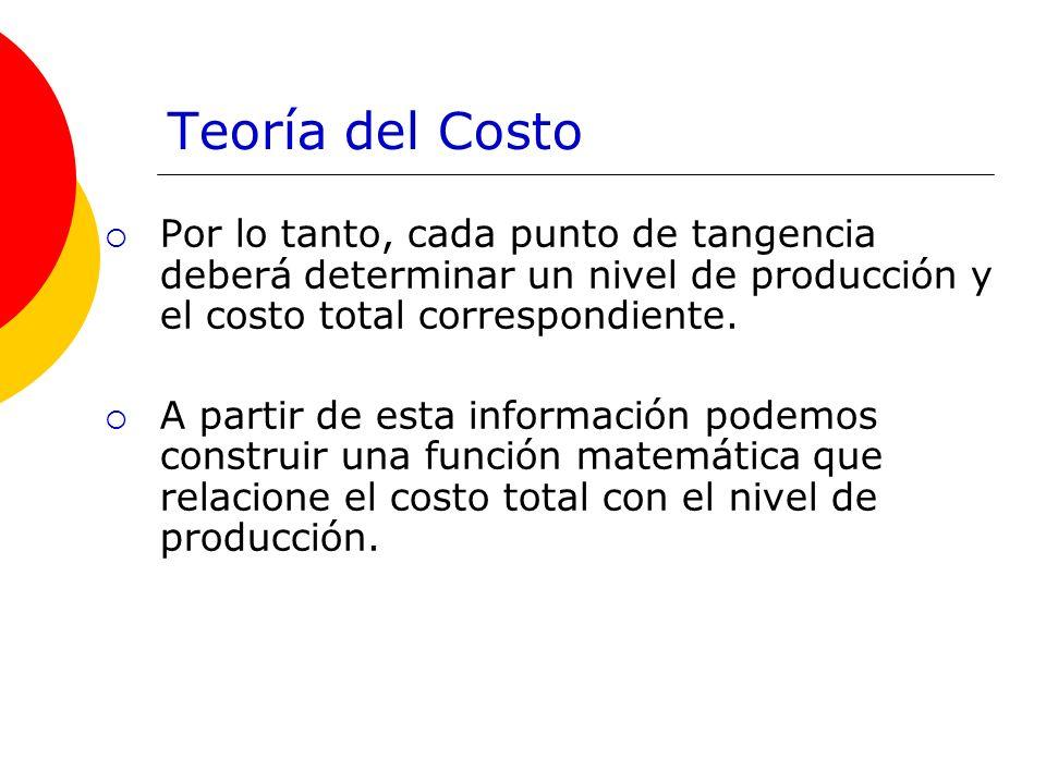 Teoría del Costo Por lo tanto, cada punto de tangencia deberá determinar un nivel de producción y el costo total correspondiente. A partir de esta inf
