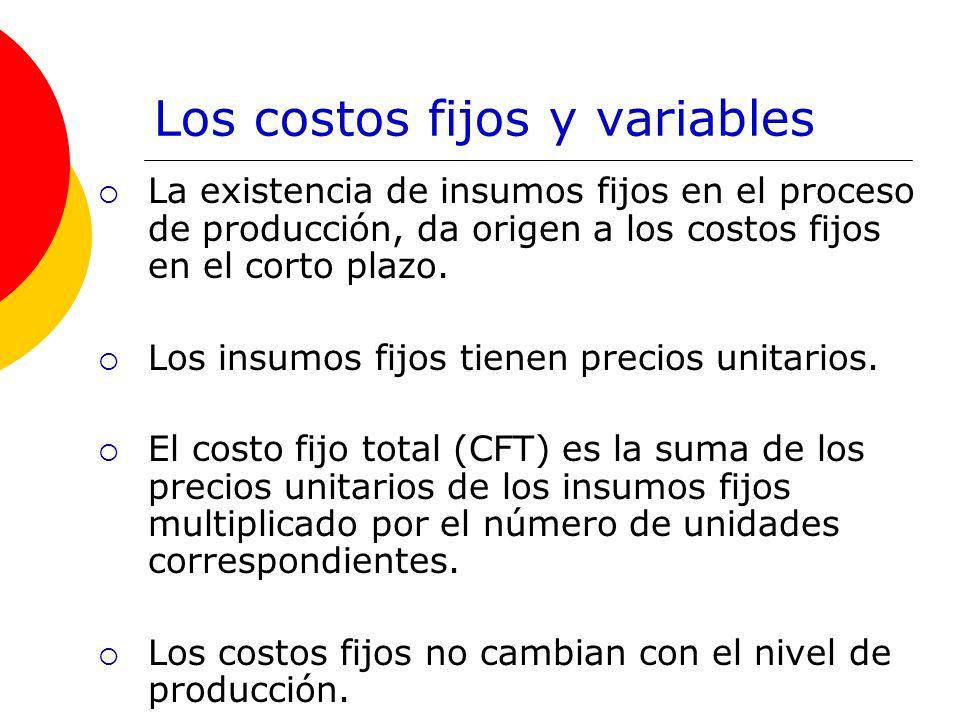 Los costos fijos y variables La existencia de insumos fijos en el proceso de producción, da origen a los costos fijos en el corto plazo.