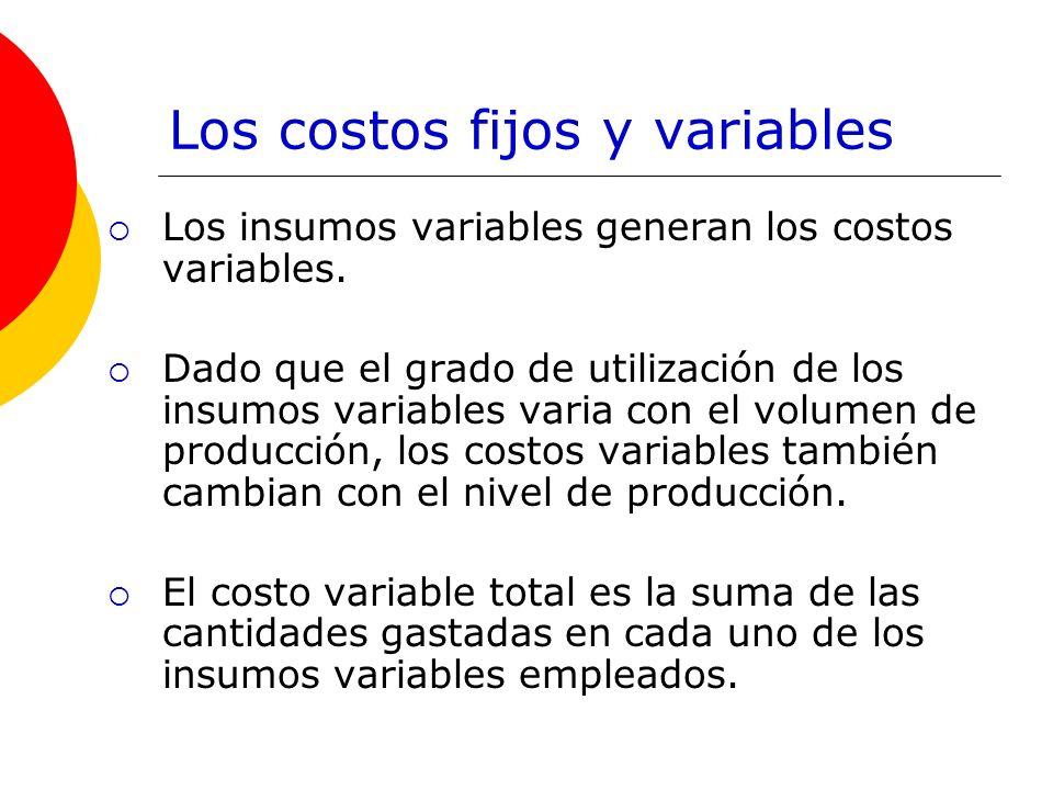 Los costos fijos y variables Los insumos variables generan los costos variables. Dado que el grado de utilización de los insumos variables varia con e