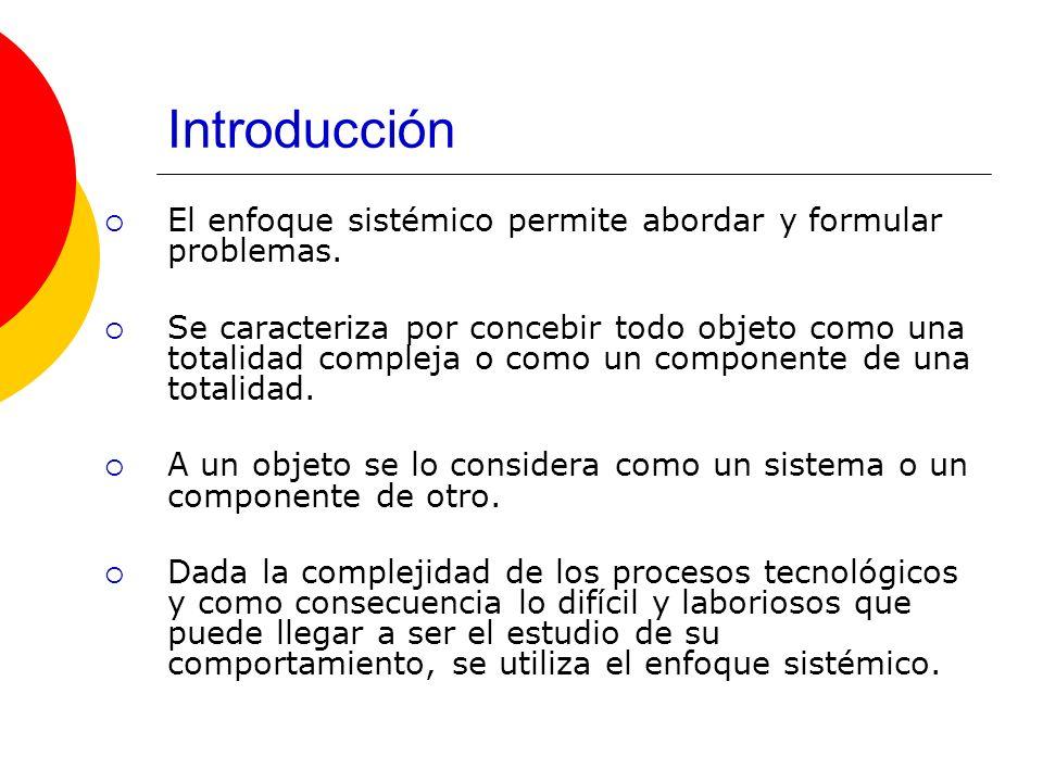 Introducción El enfoque sistémico permite abordar y formular problemas. Se caracteriza por concebir todo objeto como una totalidad compleja o como un