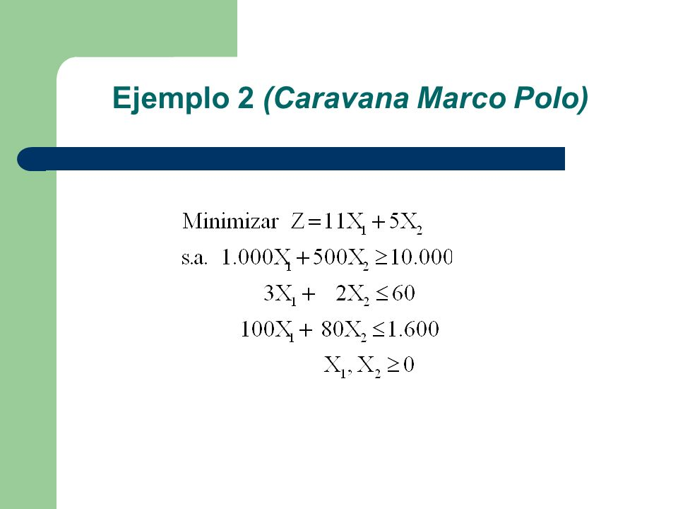 Ejemplo 2 (Caravana Marco Polo)