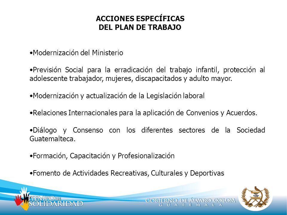 ACCIONES ESPECÍFICAS DEL PLAN DE TRABAJO Modernización del Ministerio Previsión Social para la erradicación del trabajo infantil, protección al adoles
