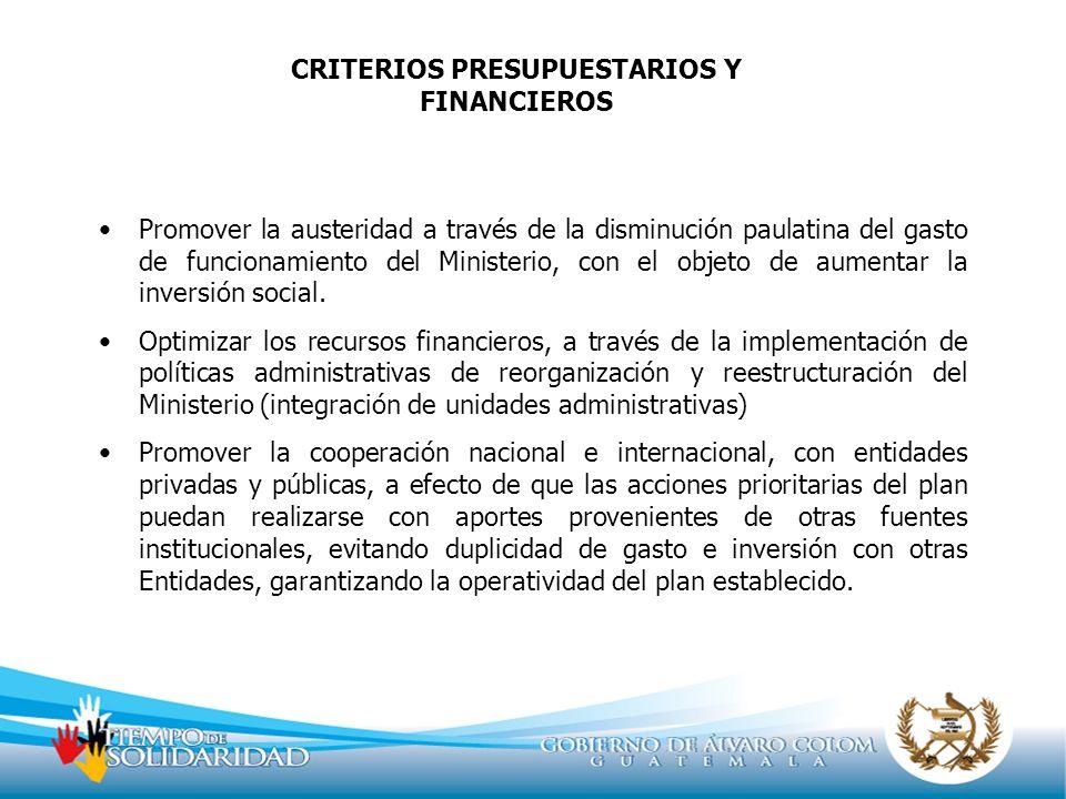 CRITERIOS PRESUPUESTARIOS Y FINANCIEROS Promover la austeridad a través de la disminución paulatina del gasto de funcionamiento del Ministerio, con el
