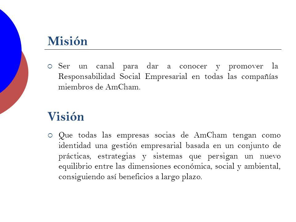 Misión Ser un canal para dar a conocer y promover la Responsabilidad Social Empresarial en todas las compañías miembros de AmCham. Visión Que todas la