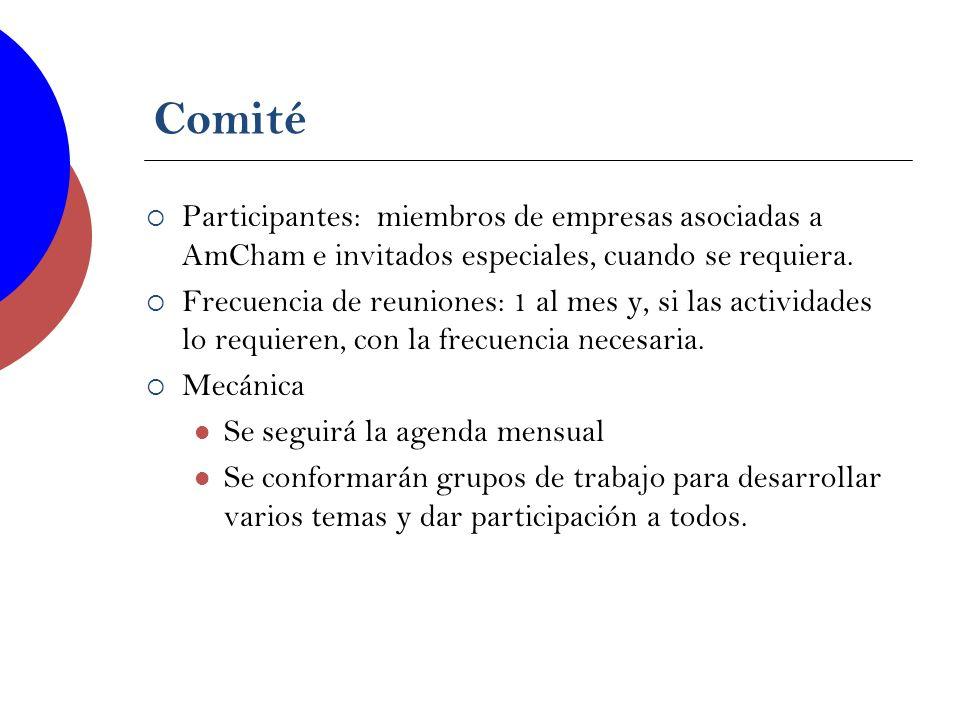 Comité Participantes: miembros de empresas asociadas a AmCham e invitados especiales, cuando se requiera. Frecuencia de reuniones: 1 al mes y, si las