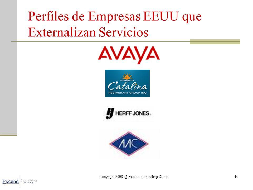 Perfiles de Empresas EEUU que Externalizan Servicios Copyright 2006 @ Excend Consulting Group14