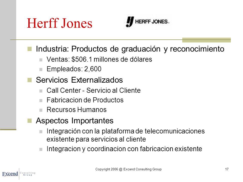 Herff Jones Industria: Productos de graduación y reconocimiento Ventas: $506.1 millones de dólares Empleados: 2,600 Servicios Externalizados Call Center - Servicio al Cliente Fabricacion de Productos Recursos Humanos Aspectos Importantes Integración con la plataforma de telecomunicaciones existente para servicios al cliente Integracion y coordinacion con fabricacion existente Copyright 2006 @ Excend Consulting Group17
