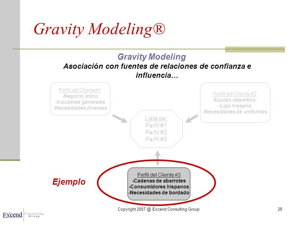 Copyright 2007 @ Excend Consulting Group28 Gravity Modeling® Gravity Modeling Asociación con fuentes de relaciones de confianza e influencia… Lista de: Perfil #1 Perfil #2 Perfil #3 Perfil del Cliente#1 -Negocio latino -Industrias generales -Necesidades diversas Perfil del Cliente #2 -Equipo deportivo -Liga hispana -Necesidades de uniformes Perfil del Cliente #3 -Cadenas de abarrotes -Consumidores hispanos -Necesidades de bordado Ejemplo