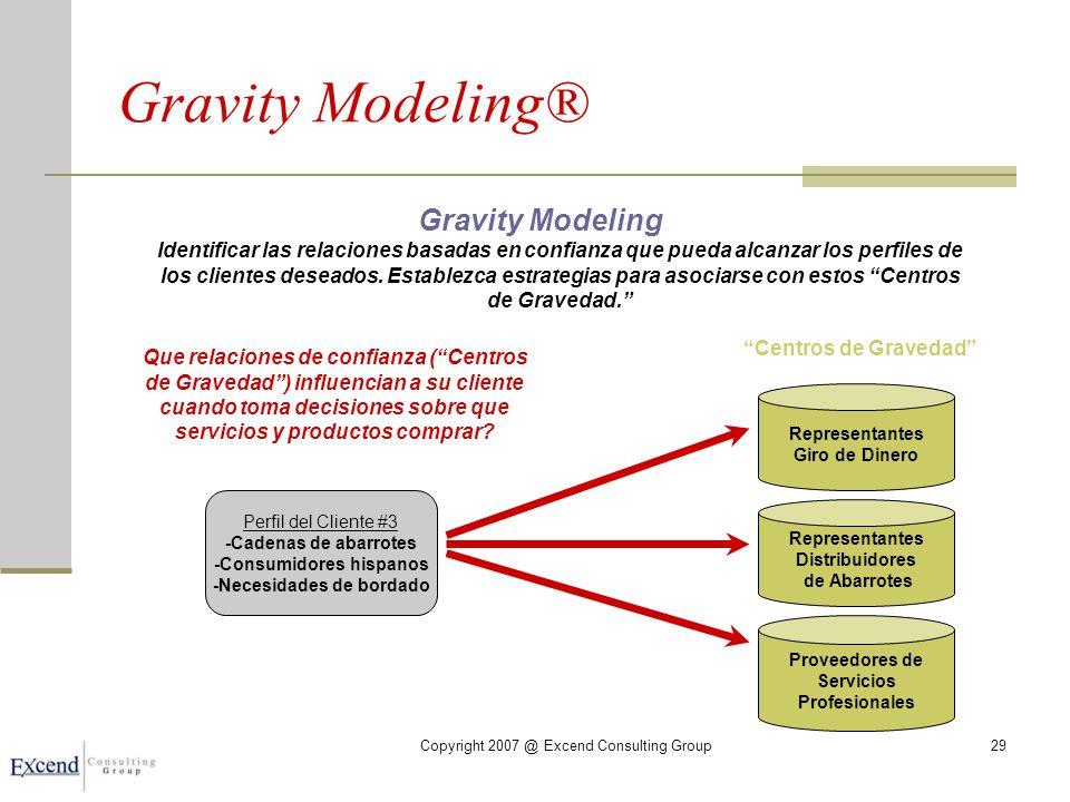 Copyright 2007 @ Excend Consulting Group29 Gravity Modeling® Gravity Modeling Identificar las relaciones basadas en confianza que pueda alcanzar los perfiles de los clientes deseados.