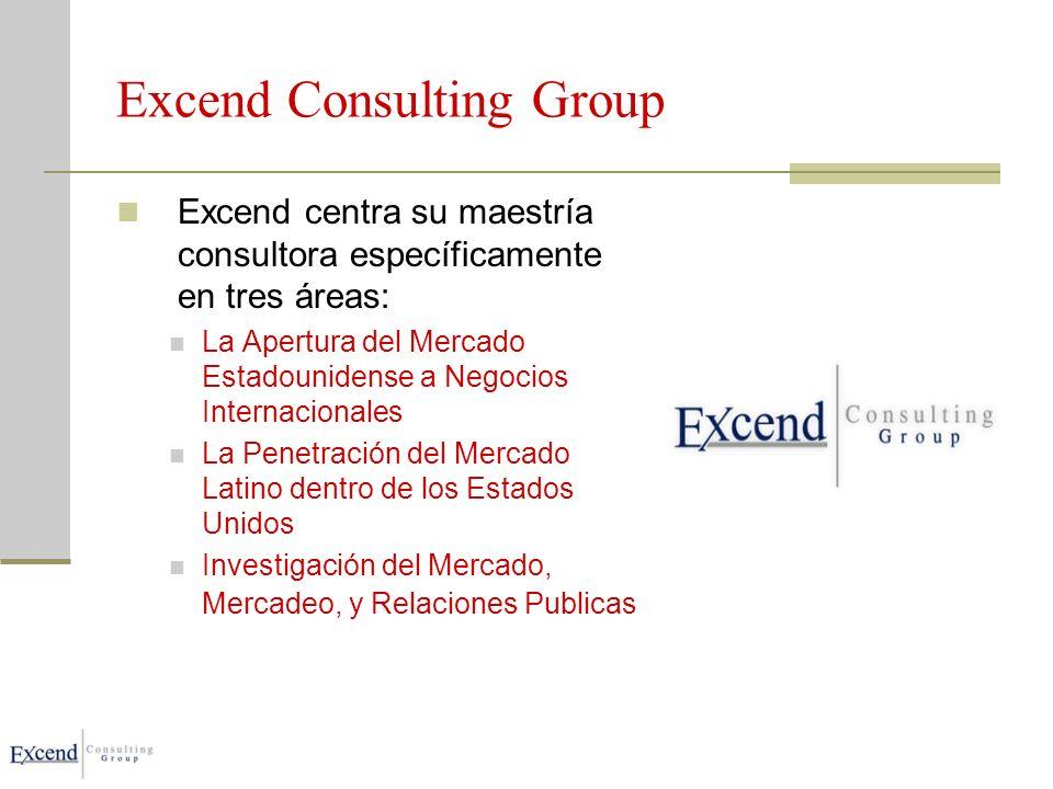 Excend Consulting Group Excend centra su maestría consultora específicamente en tres áreas: La Apertura del Mercado Estadounidense a Negocios Internacionales La Penetración del Mercado Latino dentro de los Estados Unidos Investigación del Mercado, Mercadeo, y Relaciones Publicas