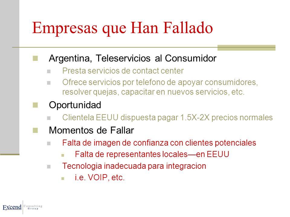 Empresas que Han Fallado Argentina, Teleservicios al Consumidor Presta servicios de contact center Ofrece servicios por telefono de apoyar consumidores, resolver quejas, capacitar en nuevos servicios, etc.
