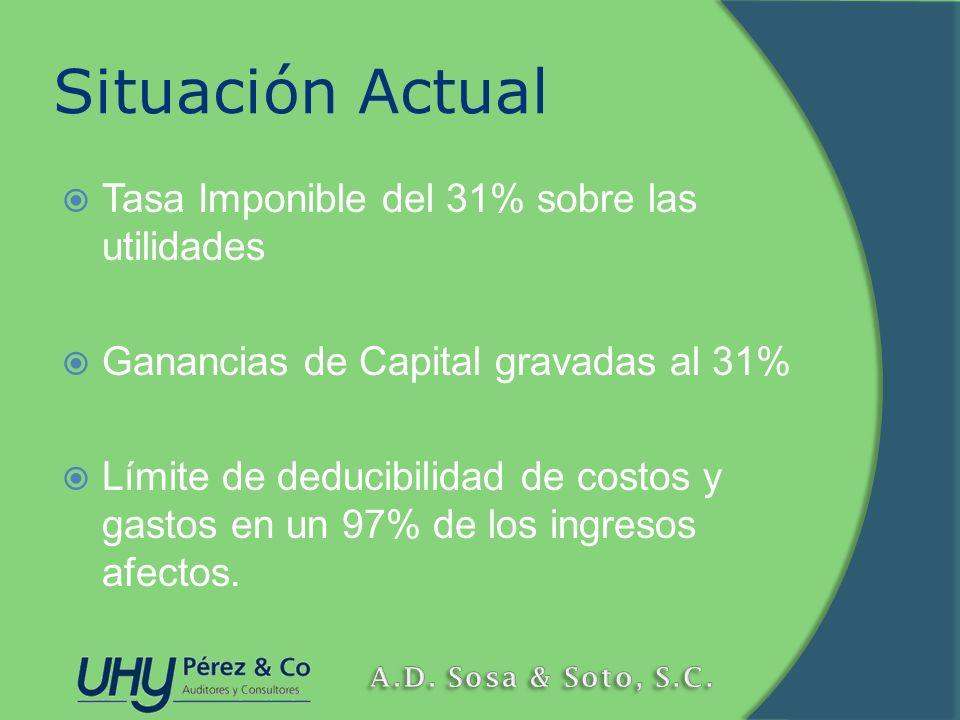 Situación Actual Tasa Imponible del 31% sobre las utilidades Ganancias de Capital gravadas al 31% Límite de deducibilidad de costos y gastos en un 97%