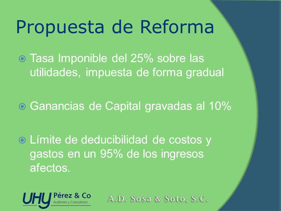 Propuesta de Reforma Tasa Imponible del 25% sobre las utilidades, impuesta de forma gradual Ganancias de Capital gravadas al 10% Límite de deducibilid