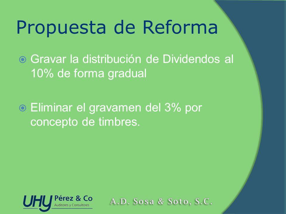 Propuesta de Reforma Gravar la distribución de Dividendos al 10% de forma gradual Eliminar el gravamen del 3% por concepto de timbres.