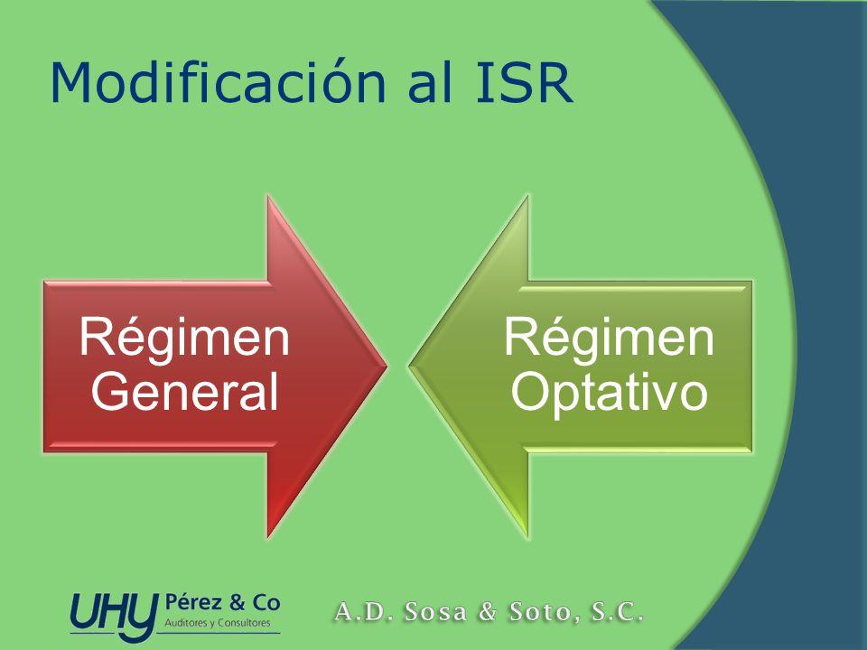 Modificación al ISR Régimen General Régimen Optativo