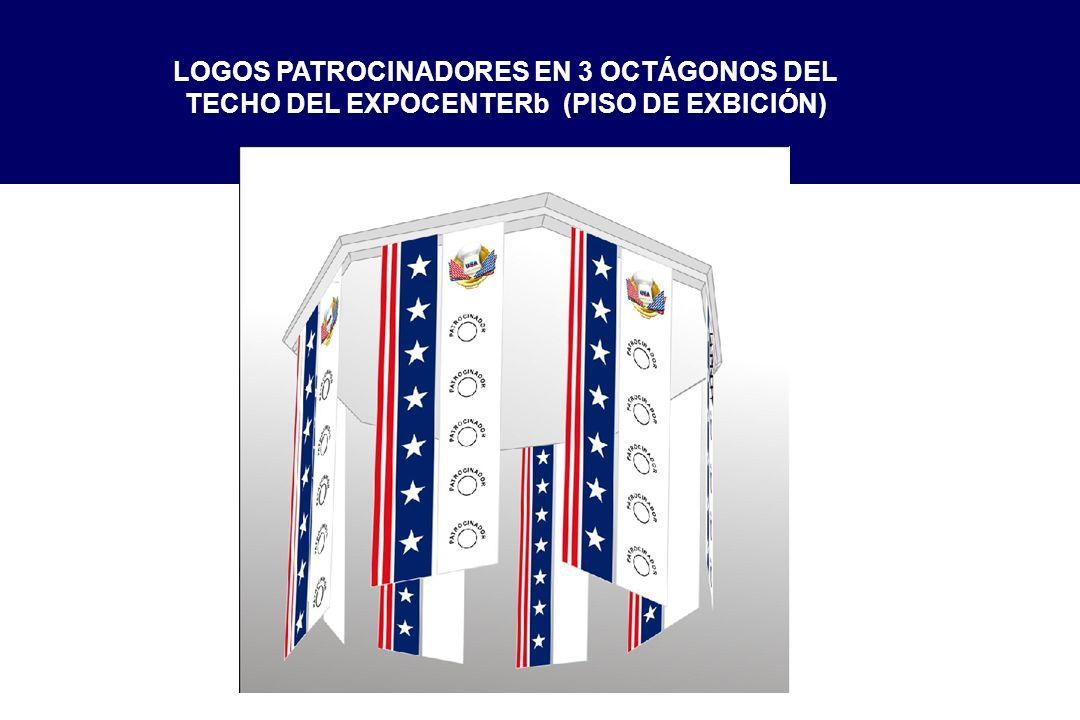 LOGOS PATROCINADORES EN 3 OCTÁGONOS DEL TECHO DEL EXPOCENTERb (PISO DE EXBICIÓN)