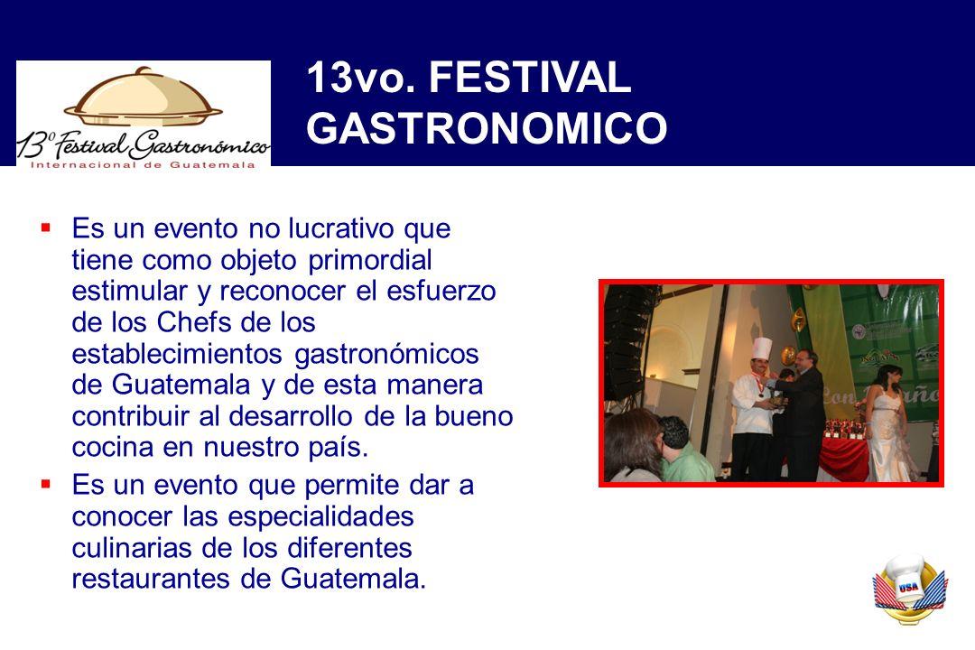 Es un evento no lucrativo que tiene como objeto primordial estimular y reconocer el esfuerzo de los Chefs de los establecimientos gastronómicos de Guatemala y de esta manera contribuir al desarrollo de la bueno cocina en nuestro país.
