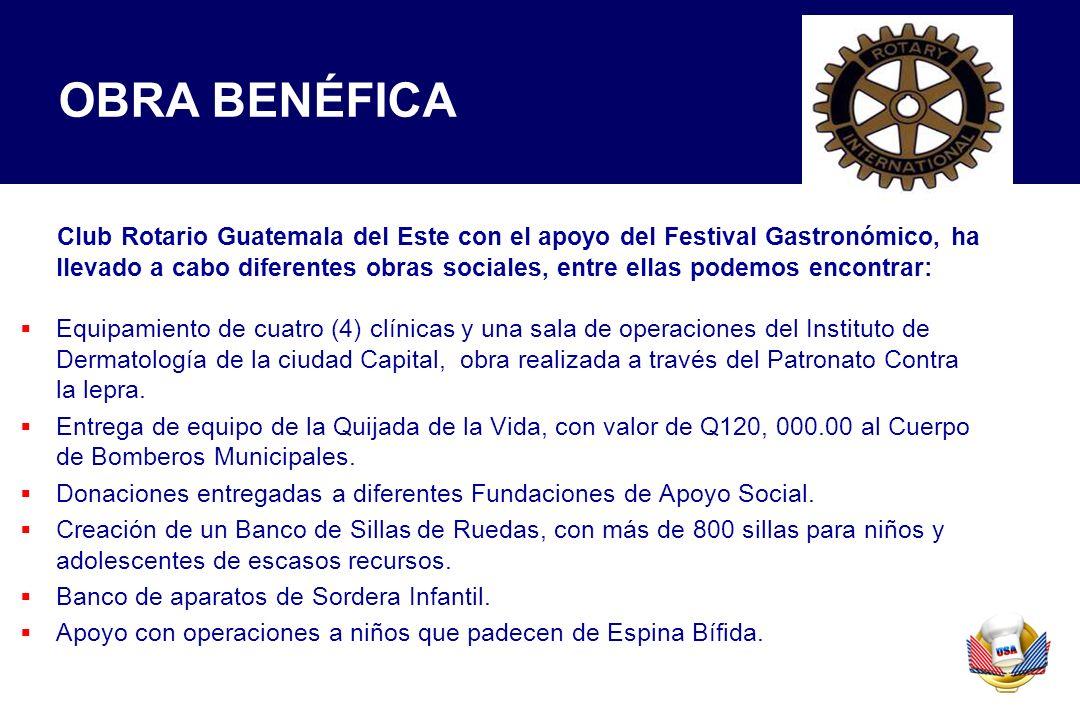 Club Rotario Guatemala del Este con el apoyo del Festival Gastronómico, ha llevado a cabo diferentes obras sociales, entre ellas podemos encontrar: Eq