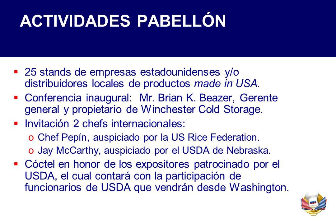 ACTIVIDADES PABELLÓN 25 stands de empresas estadounidenses y/o distribuidores locales de productos made in USA. Conferencia inaugural: Mr. Brian K. Be