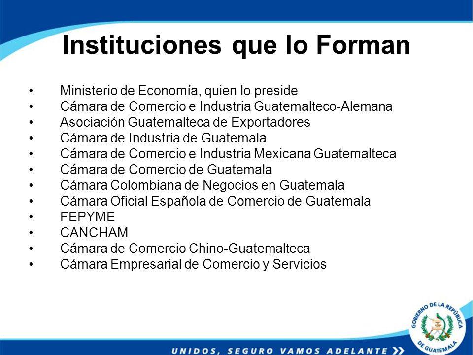 Instituciones que lo Forman Ministerio de Economía, quien lo preside Cámara de Comercio e Industria Guatemalteco-Alemana Asociación Guatemalteca de Ex