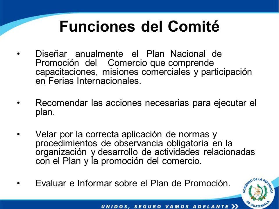 Funciones del Comité Diseñar anualmente el Plan Nacional de Promoción del Comercio que comprende capacitaciones, misiones comerciales y participación