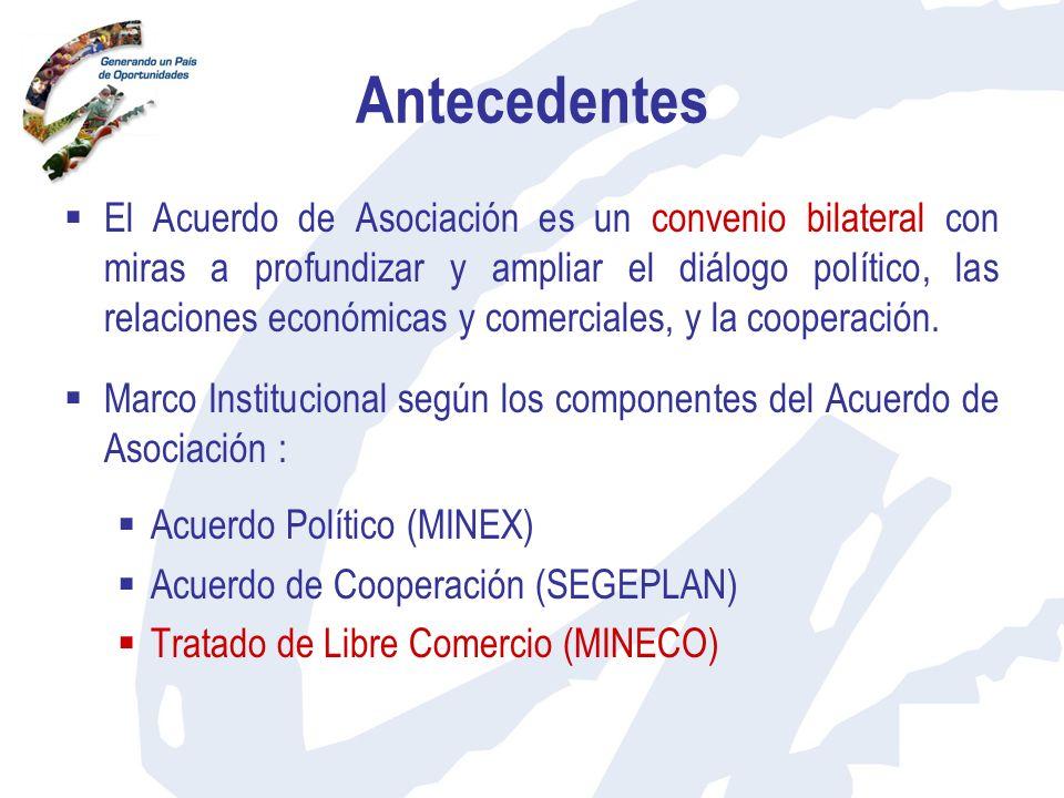 Antecedentes El Acuerdo de Asociación es un convenio bilateral con miras a profundizar y ampliar el diálogo político, las relaciones económicas y come