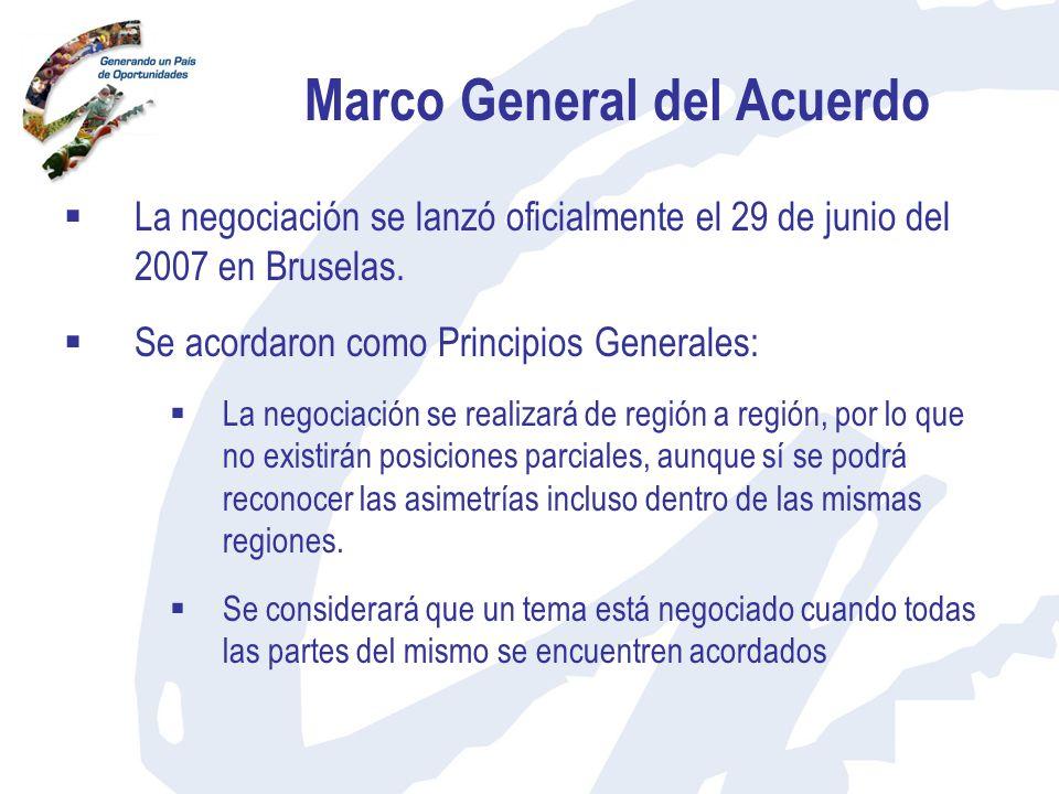 Marco General del Acuerdo La negociación se lanzó oficialmente el 29 de junio del 2007 en Bruselas. Se acordaron como Principios Generales: La negocia