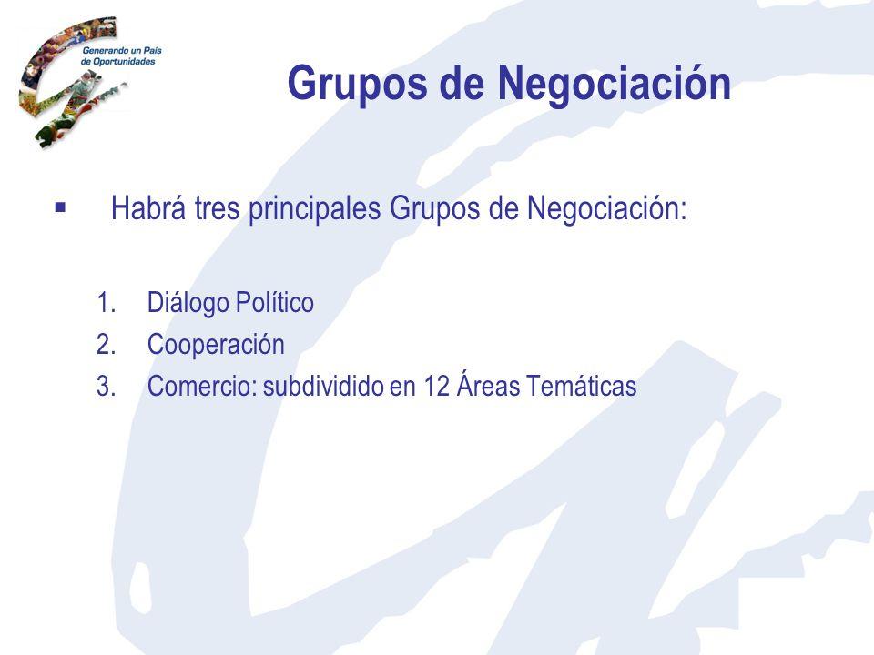 Grupos de Negociación Habrá tres principales Grupos de Negociación: 1.Diálogo Político 2.Cooperación 3.Comercio: subdividido en 12 Áreas Temáticas